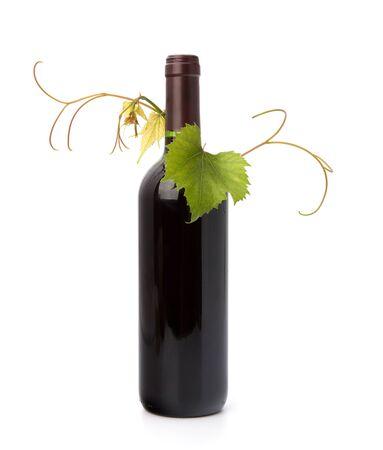 red wine bottle isolated on white background photo