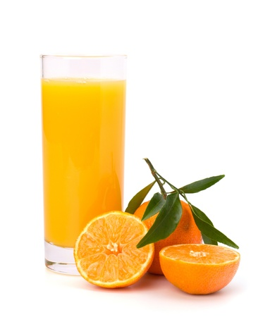 Tangerines and juice glass isolated on white background photo