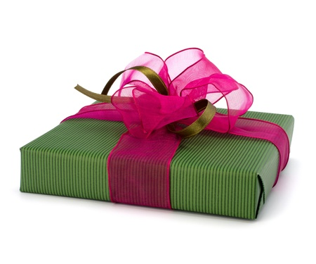 festive gift box isolated on white background Stock Photo - 9053683