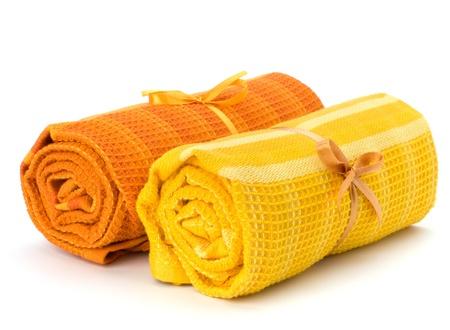 strandlaken: Handdoek roll geïsoleerd op witte achtergrond