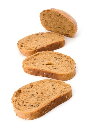 Healthy grain bread  isolated on white background photo