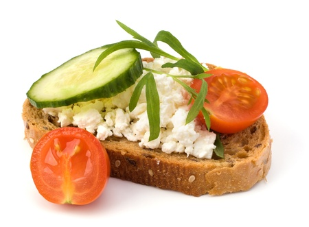 vegan food: healthy sandwich isolated on white background Stock Photo