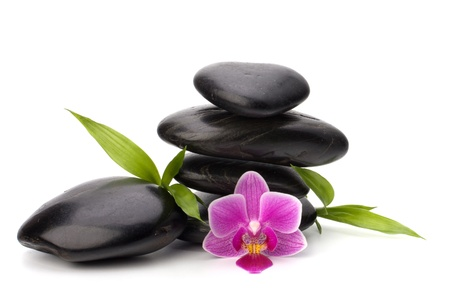 stones with flower: Shinny pebbles balance. Spa and healthcare concept.