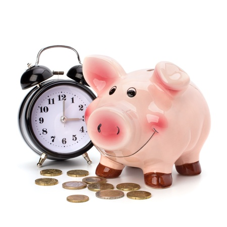 money time: Money accumulation concept. Money and piggy bank isolated on white background.