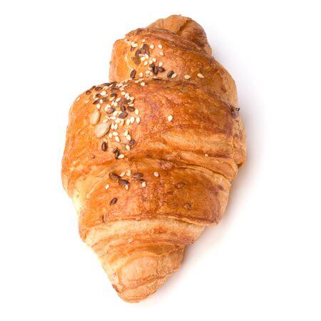 croissant isolated on white background close up photo