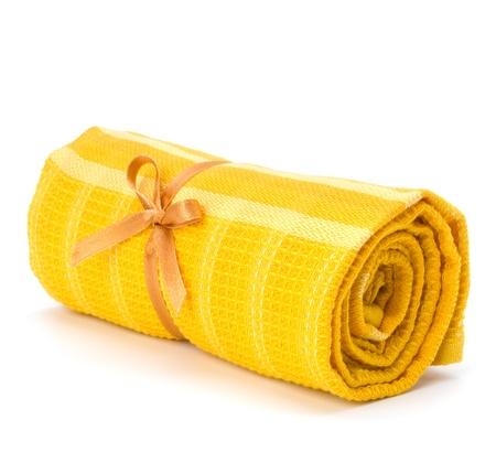 orange washcloth: Towel roll  isolated on white background