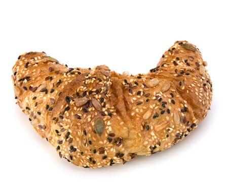 fresh croissant isolated on white background close up photo