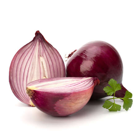 root vegetable: Red sliced onion and fresh parsley still life isolated on white background