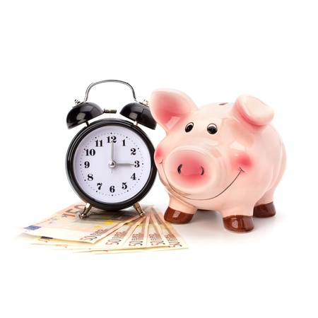 earn money: Money accumulation concept. Money and piggy bank isolated on white background.
