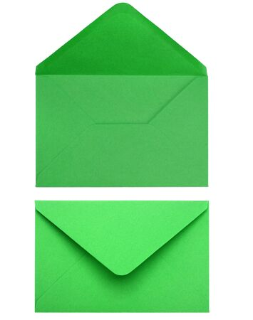 letter envelope: green envelope isolated on white background