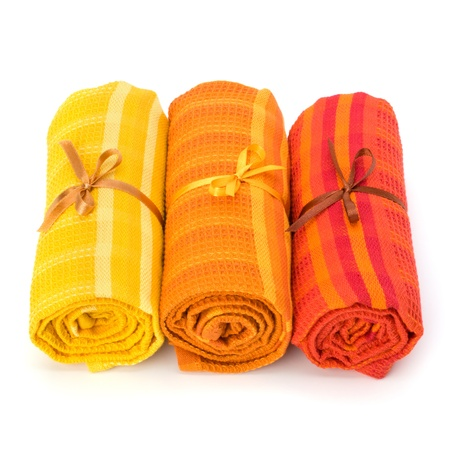 Towel roll  isolated on white background photo