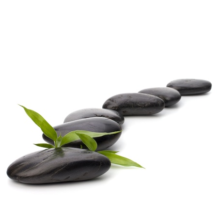 meditation isolated white: Zen pebbles path. Spa and healthcare concept.