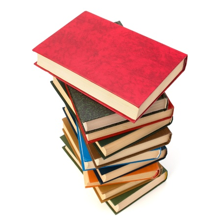 overachiever: book stack isolated on  white background