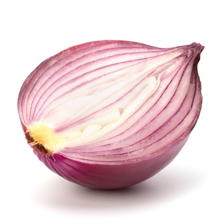 Red sliced onion half isolated on white background photo