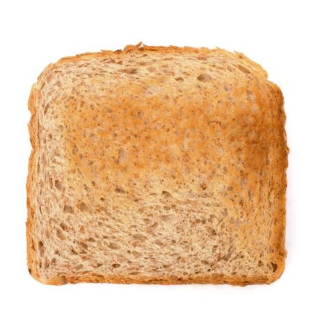Crusty bread toast slice isolated on white background photo