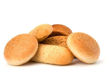 Bread loafs and buns variety isolated on white background photo