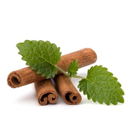 Cinnamon sticks and fresh bergamot mint leaf isolated on white background photo