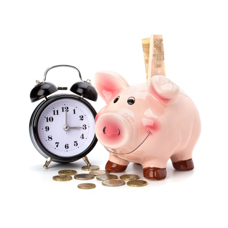 Money accumulation concept. Money and piggy bank isolated on white background. photo