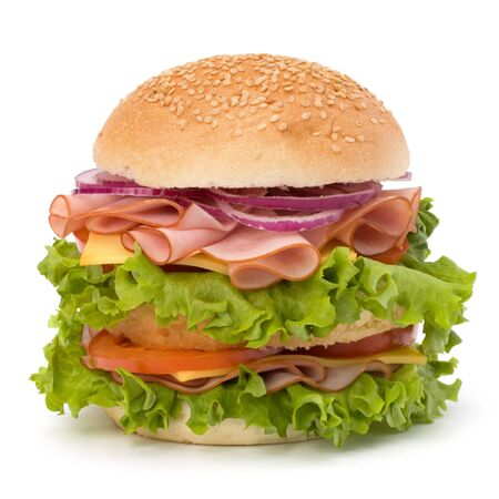 Big appetizing fast food sandwich with lettuce, tomato, smoked ham and cheese isolated on white background. Junk food hamburger. Stock Photo - 9647750