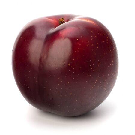 Red plum fruit isolated on white background Stock Photo - 9647848