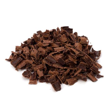 Crushed chocolate shavings pile isolated on white background Stock Photo - 9815994