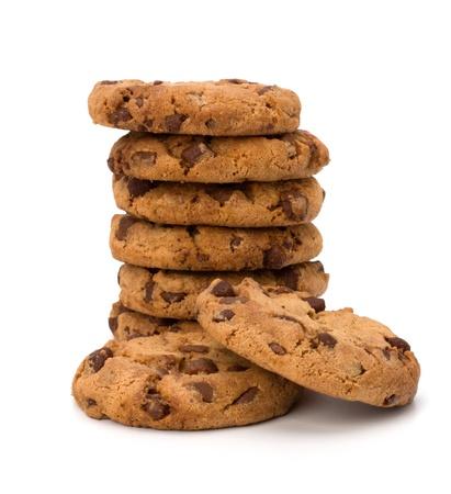 cookie chocolat: Biscuits au chocolat p?tisserie maison isol?e sur fond blanc