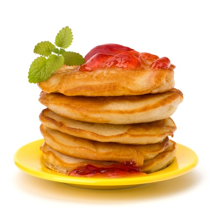 Pancakes  stack on white background photo