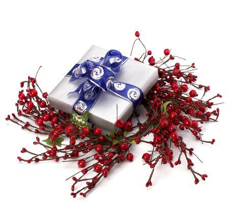 festive gift box isolated on white background photo