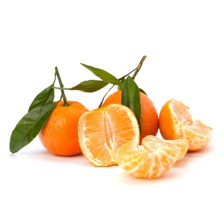 foetus: Ripe tasty tangerines isolated on white background