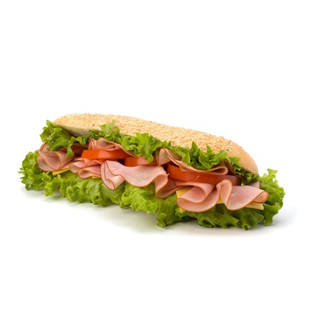 hoagie: Big appetizing  fast food baguette sandwich with lettuce, tomato, smoked ham and cheese isolated on white background. Junk food subway.