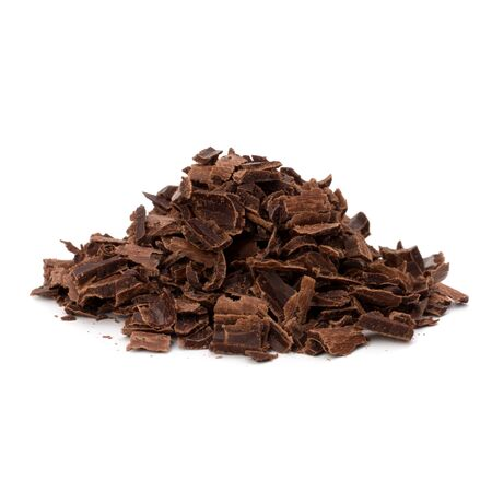 Crushed chocolate shavings pile isolated on white background Stock Photo - 10161716
