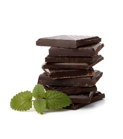 Chocolate bars stack and mint leaf isolated on white background Stock Photo - 10161199