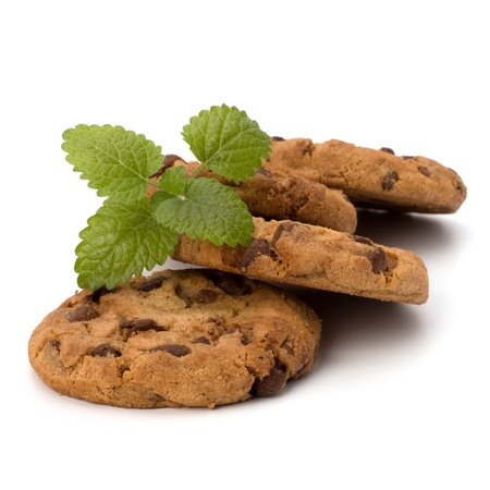 Chocolade zelfgemaakt gebak koekjes geïsoleerd op witte achtergrond