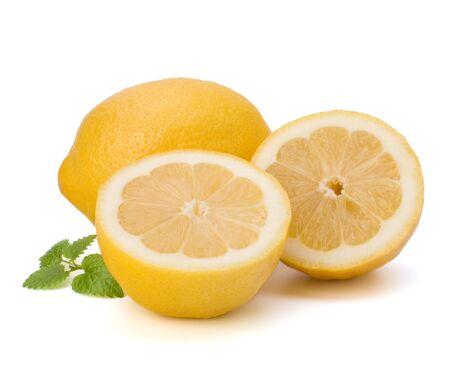 Lemon and citron mint leaf isolated on white background photo