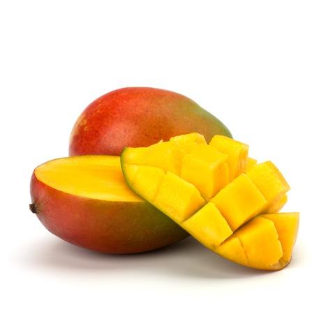 mango: Mango owoców samodzielnie na biaÅ'ym tle Zdjęcie Seryjne