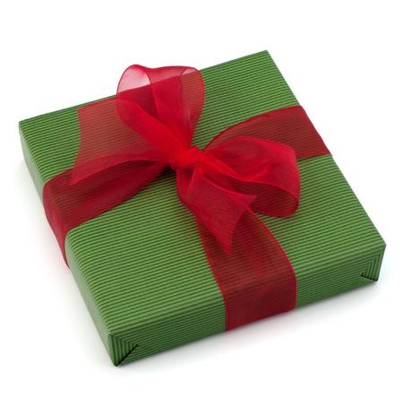 festive gift box with bow isolated on white background photo