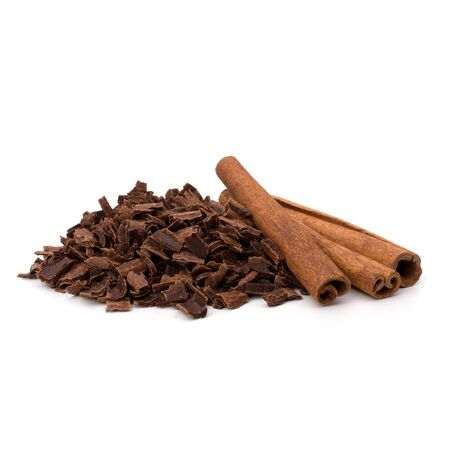 Crushed chocolate shavings pile and cinnamon sticks isolated on white background Stock Photo - 10405949