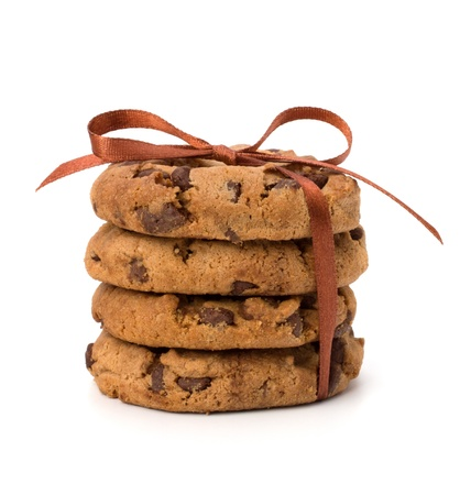 cookie chocolat: Festive envelopp� biscuits de p�te au chocolat isol� sur fond blanc