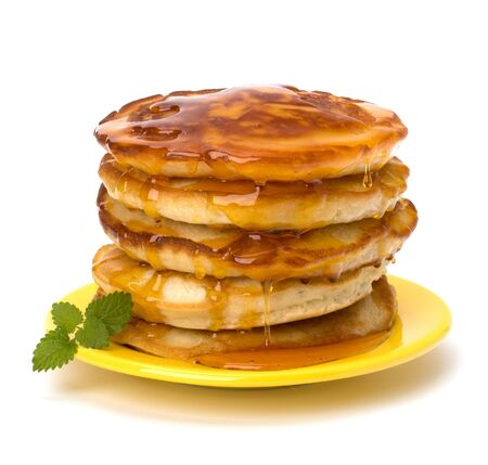 maple syrup: Pancakes  stack on white background