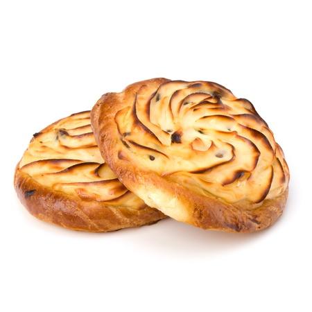 Delicious sweet cream buns isolated on white background photo