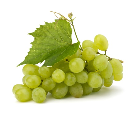 Ripe grape whith leaf isolated on white background