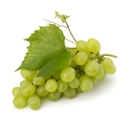 grape cluster: Ripe grape whith leaf isolated on white background