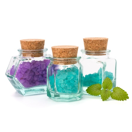 bath essence: Aromatic natural mineral salt isolated on white background
