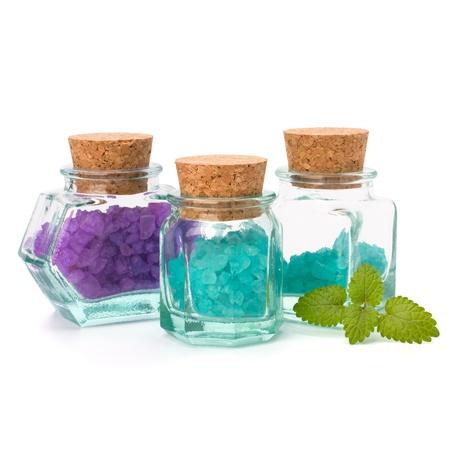 bath salt: Aromatic natural mineral salt isolated on white background
