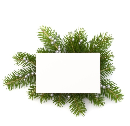 Christmas decoration with greeting card isolated on white background Imagens