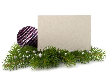 greeting season: Christmas decoration with greeting card isolated on white background Stock Photo