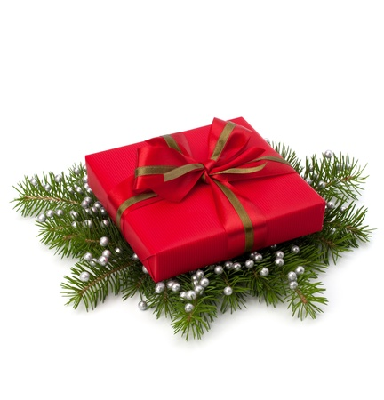 Christmas gift box isolated on white background photo