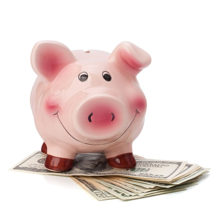 Money and piggy bank isolated on white background. Stock Photo - 10667273