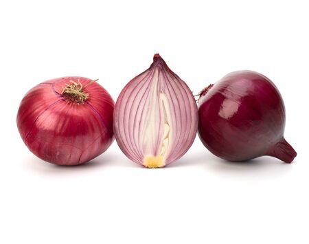 Red sliced onion  isolated on white background photo