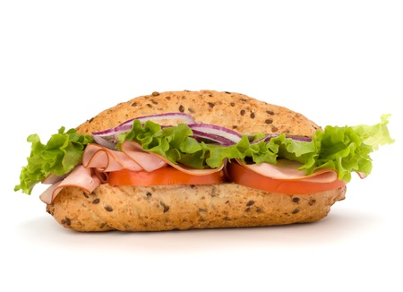 sub: Big appetizing  fast food baguette sandwich with lettuce, tomato, smoked ham and cheese isolated on white background. Junk food subway.